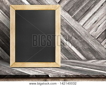 Blank Blackboard Wood Frame On Diagonal Wooden Table At Diagonal Wood Wall,template Mock Up For Addi