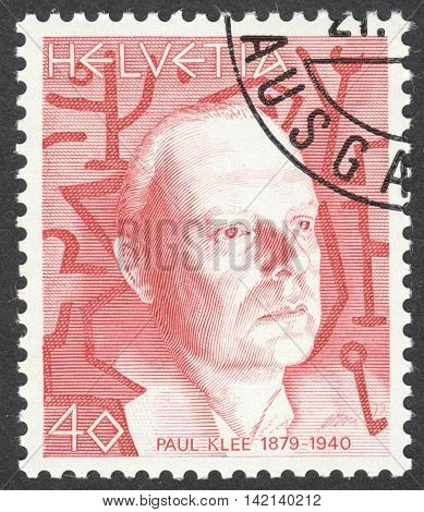 MOSCOW RUSSIA - CIRCA APRIL 2016: a post stamp printed in SWITZERLAND shows a portrait of Paul Klee the series