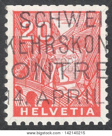 MOSCOW RUSSIA - CIRCA MAY 2016: a post stamp printed in SWITZERLAND shows St. Gotthard Railroad between Airolo & Faido the series