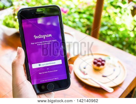 CHIANG MAI THAILAND - JUN 172016: A women holds Apple iPhone 6S with Instagram application 3D Touch on the screen. Instagram is a photo-sharing app for smartphones.