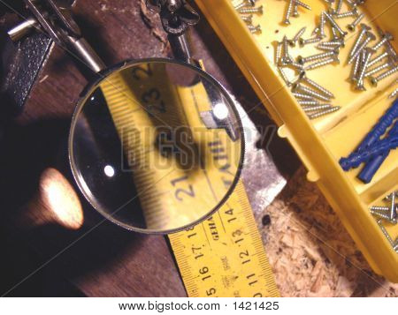 A Ruler Under A Magnifier And Another Stuff