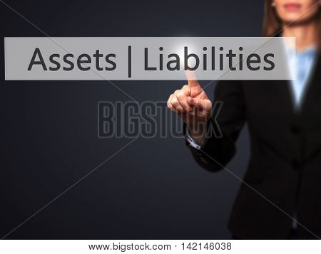 Assets Liabilities - Isolated Female Hand Touching Or Pointing To Button