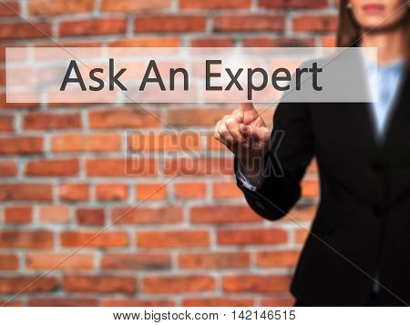 Ask An Expert - Isolated Female Hand Touching Or Pointing To Button