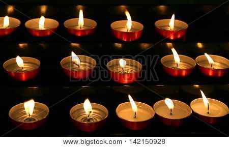 Many Candles Lit With Flame