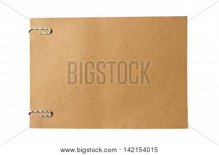 brown paper note with colorful paper clip and empty for text