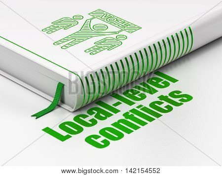 Political concept: closed book with Green Election Campaign icon and text Local-level Conflicts on floor, white background, 3D rendering