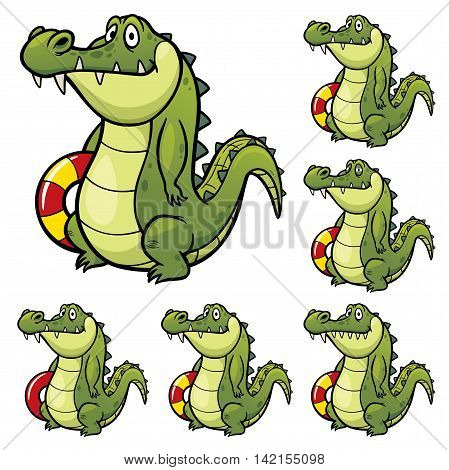 Vector Illustration of make the choice matching - Crocodile