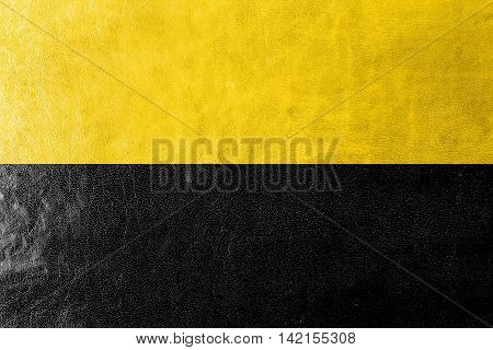 Flag Of Saxony-anhalt, Germany, Painted On Leather Texture