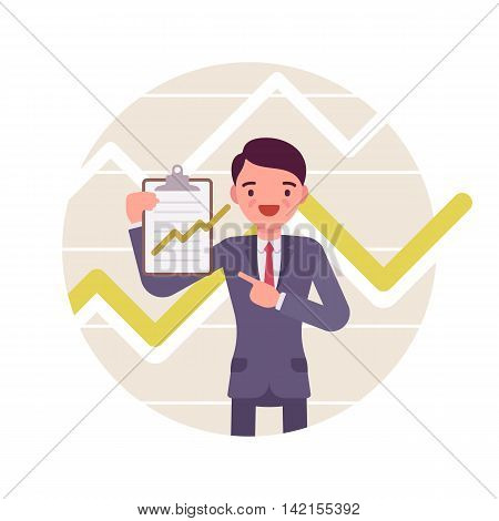 Businessman with clipboard. Positive green charts and graphs. Cartoon vector flat-style business concept illustration