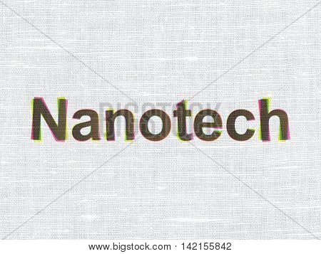 Science concept: CMYK Nanotech on linen fabric texture background