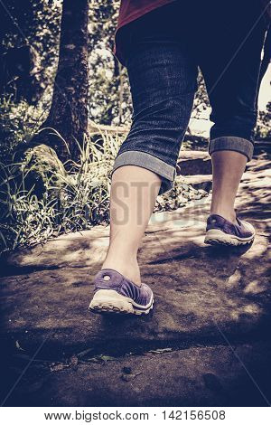 High Contrast Vintage Tone Of Woman Walking Exercise, Health Concept, Outdoors. Vintage Tone.