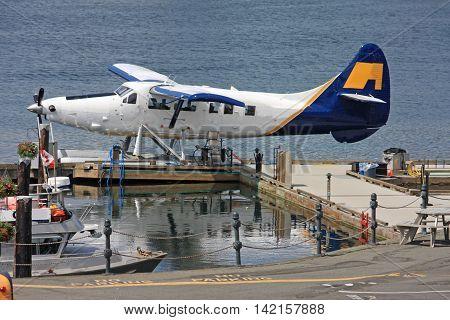 Seaplane berthed in Victoria harbor, Vancouver Island