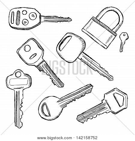House and car key doodles. Illustration of hand drawn keys.