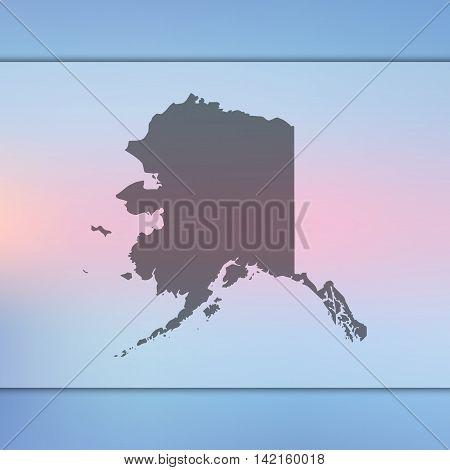 Alaska map on blurred background. Blurred background with silhouette of Alaska. Alaska. Blur background. Alaska silhouette. Alaska vector map. Alaska flag.