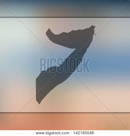 Somalia map on blurred background. Blurred background with silhouette of Somalia. Somalia. Blurred background. Somalia silhouette. Somalia vector map. Somalia flag.
