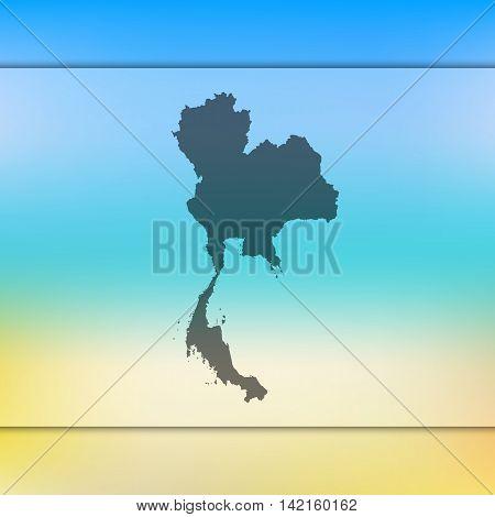 Thailand map on blurred background. Blurred background with silhouette of Thailand. Thailand. Blurred background. Thailand silhouette. Thailand vector map. Thailand flag.