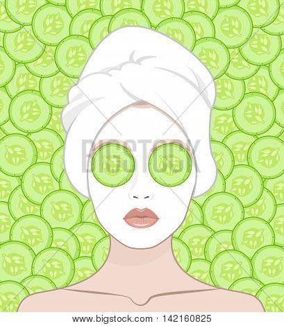 A woman puts a face mask. Woman with a towel on her head vector flat illustration for instructions. Slices of cucumber lie on the girl's eyes