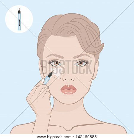 How to apply a concealer. Vector illustration. Woman's face and hand with concealer pen . Contour map. Makeup artist apply contour on the face of the girl