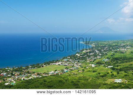 coastline from Brimstone hill fortress tropical island St. Kitts and Nevis