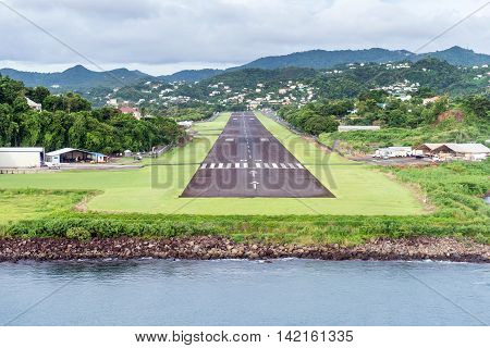 local runway in airport city Castries St.Lucia Caribbean