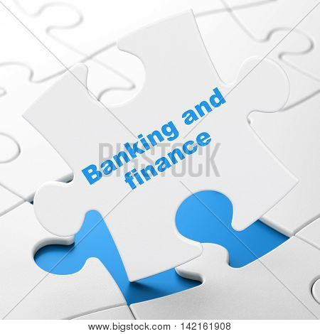 Money concept: Banking And Finance on White puzzle pieces background, 3D rendering