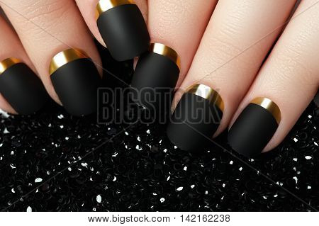 Black Matte Nail Polish. Manicured Nail With Black Matte Nail Po