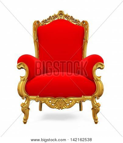 King Throne Chair isolated on white background. 3D render