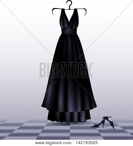 abstract empty room with black-white floor and dark evening dress with shoes