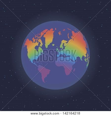 Earth in space.Rainbow ( Vector illustration. Earth with rainbow continents  in space)