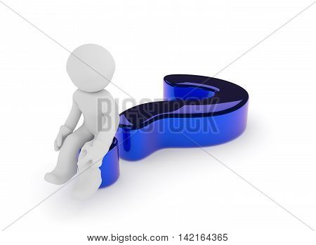 Small character sitting on a glossy blue question mark on a white background 3d render