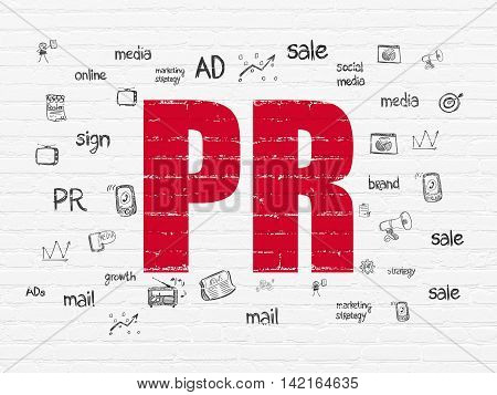 Marketing concept: Painted red text PR on White Brick wall background with  Hand Drawn Marketing Icons