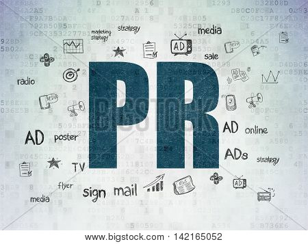 Marketing concept: Painted blue text PR on Digital Data Paper background with  Hand Drawn Marketing Icons