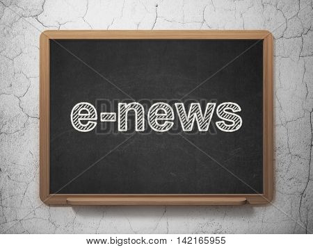 News concept: text E-news on Black chalkboard on grunge wall background, 3D rendering