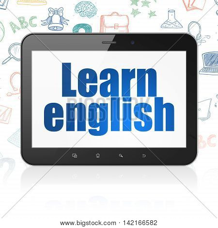 Learning concept: Tablet Computer with  blue text Learn English on display,  Hand Drawn Education Icons background, 3D rendering