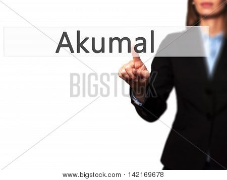 Akumal - Isolated Female Hand Touching Or Pointing To Button