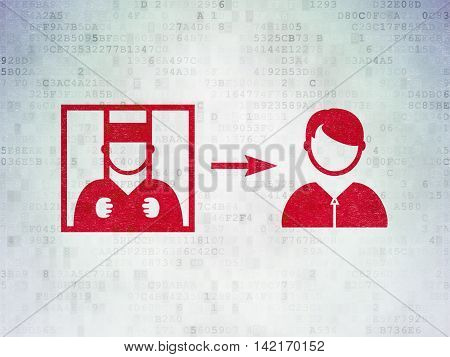 Law concept: Painted red Criminal Freed icon on Digital Data Paper background