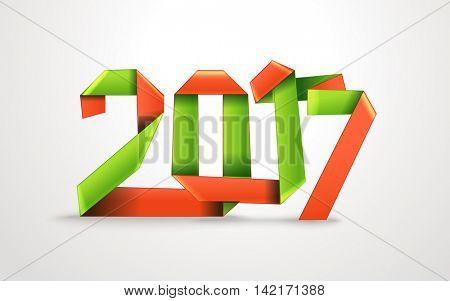 Happy New 2017 year. Silk decorative ribbon origami style