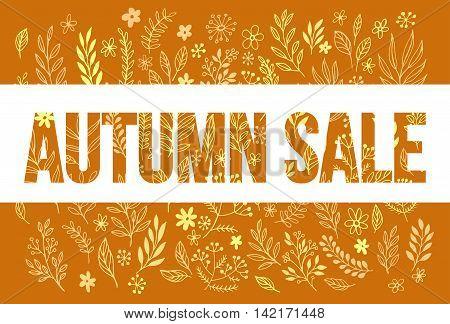 Autumn seasonal sale banner design. Fal leaf. Vector illustration EPS10