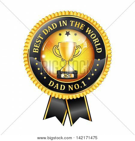 Best dad in the world, Dad no 1 -  award ribbon, button, icon, label.