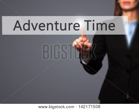 Adventure Time - Isolated Female Hand Touching Or Pointing To Button