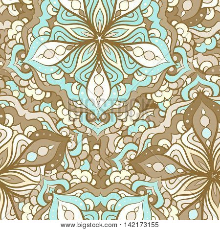 Hand drown vector ethinic elements seamless pattern.