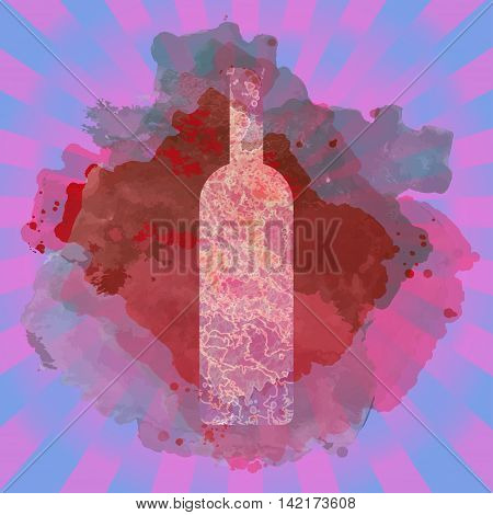 Wine tasting card with colored bottle over a colored splash painted background. Digital vector image.