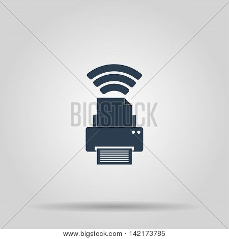 Printer with wi-fi connection, vector icon. Concept illustration for design.
