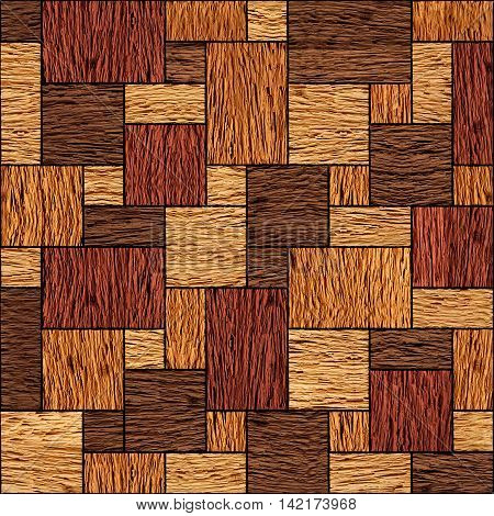 Wooden rectangular parquet stacked for seamless background. veneer nut
