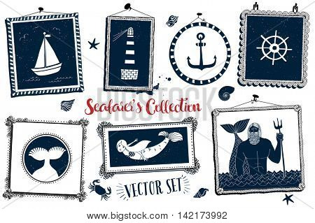 Collection of nautical symbols, including lighthouse, mermaid and Poseidon