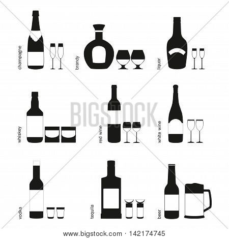 Black and white alcohol drinks glasses and bottles icons. Vector silhouette different types alcohol bottles with glasses signs vector illustration. Set   of champagne, liquor, brandy, white wine, red wine, vodka, whiskey, tequila, beer with beer mug.