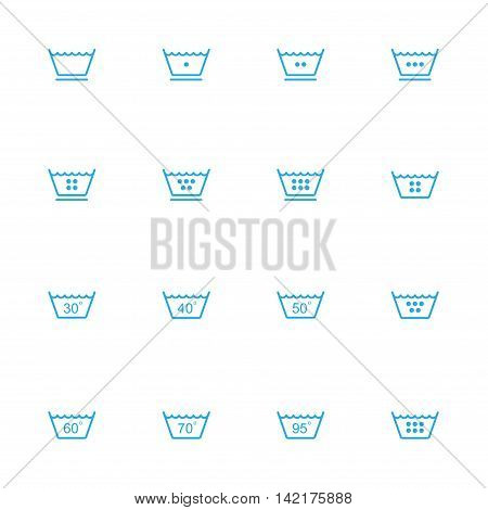 Laundry line blue icons set of 16