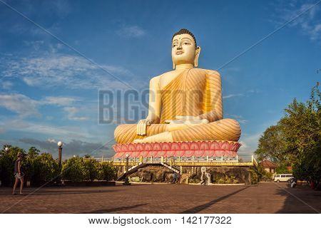 Aluthgama, Sri Lanka - December 28th 2015: Huge - 48 m High - Sitting Buddha Statue in Kande Viharaya Temple in Aluthgama near Popular Tourist Center Bentota and Beruwala.