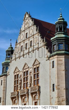Neo-renaissance facade of the building assembly hall university in Poznan