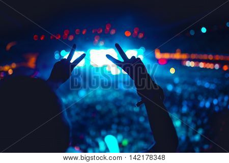 Silhouette Of Hands Showing Love For Artists At Concert, Festival. Hand Gestures Agains Lights Backg